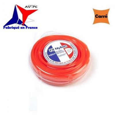 Fil Nylon pour Débroussailleuse - Ø4mm - CARRE - 9m
